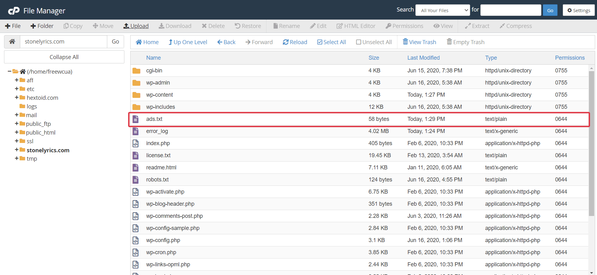 Ads.txt file is available in the hosting