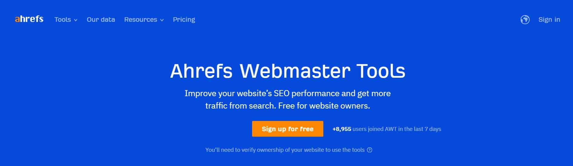 Ahrefs Webmaster Tool