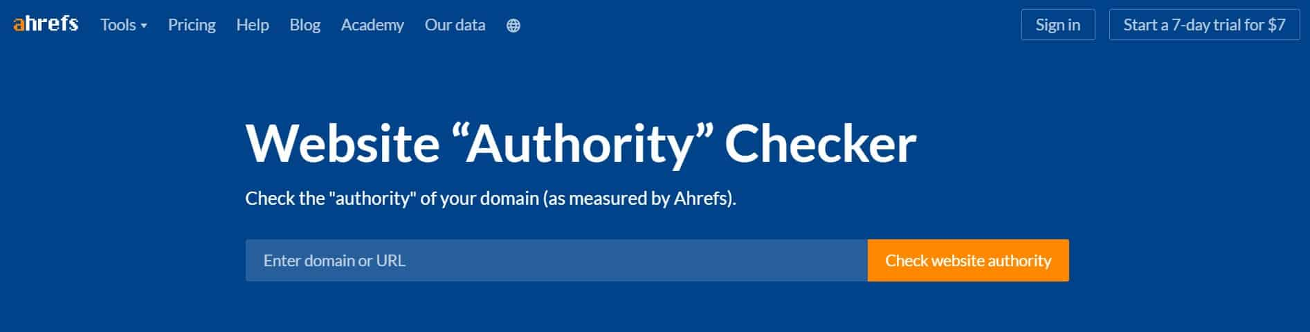 Ahrefs Website Authority Checker