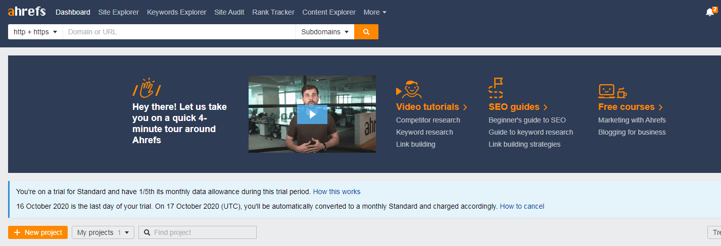 Ahrefs - Useful Tools For Bloggers To Analyse Competitors site and keywords