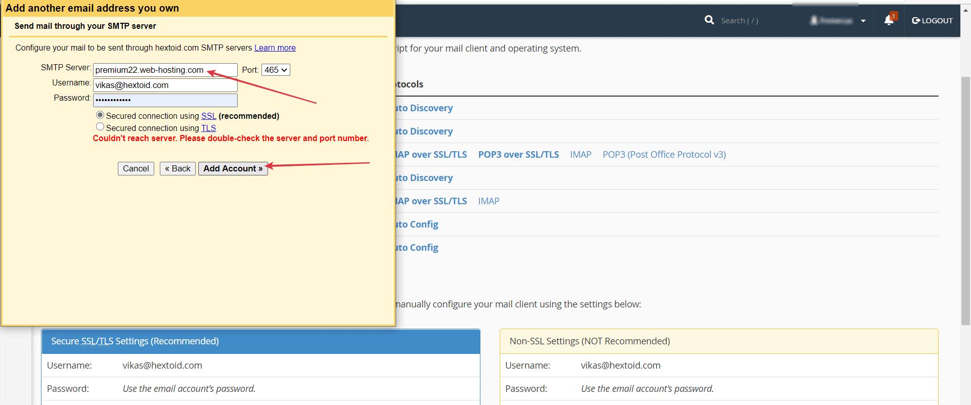Change the SMTP Server