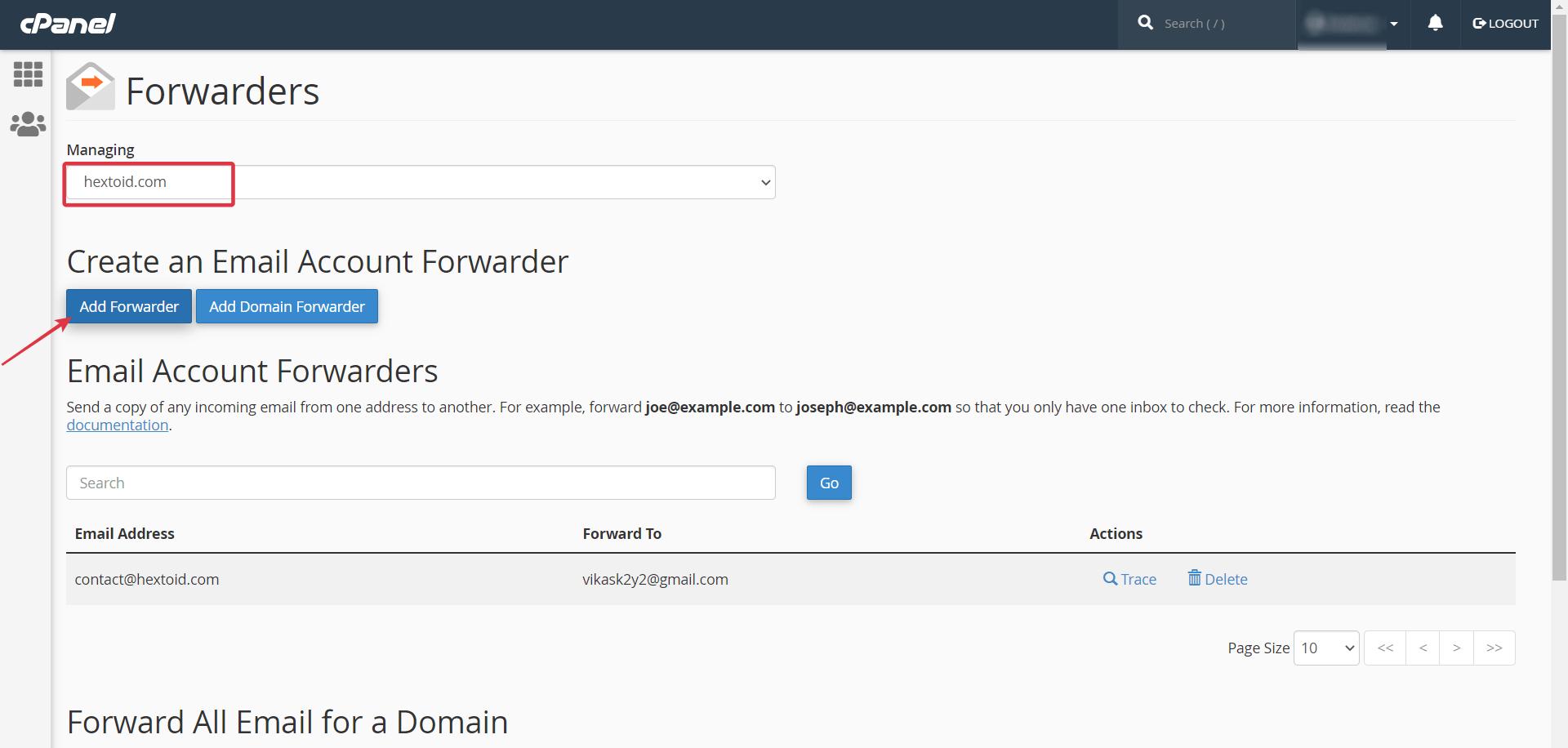 Choose Domain > Click Add Forwarder