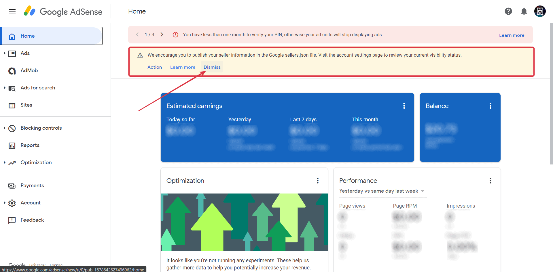 Click Dismiss to remove the Google sellers.json notification