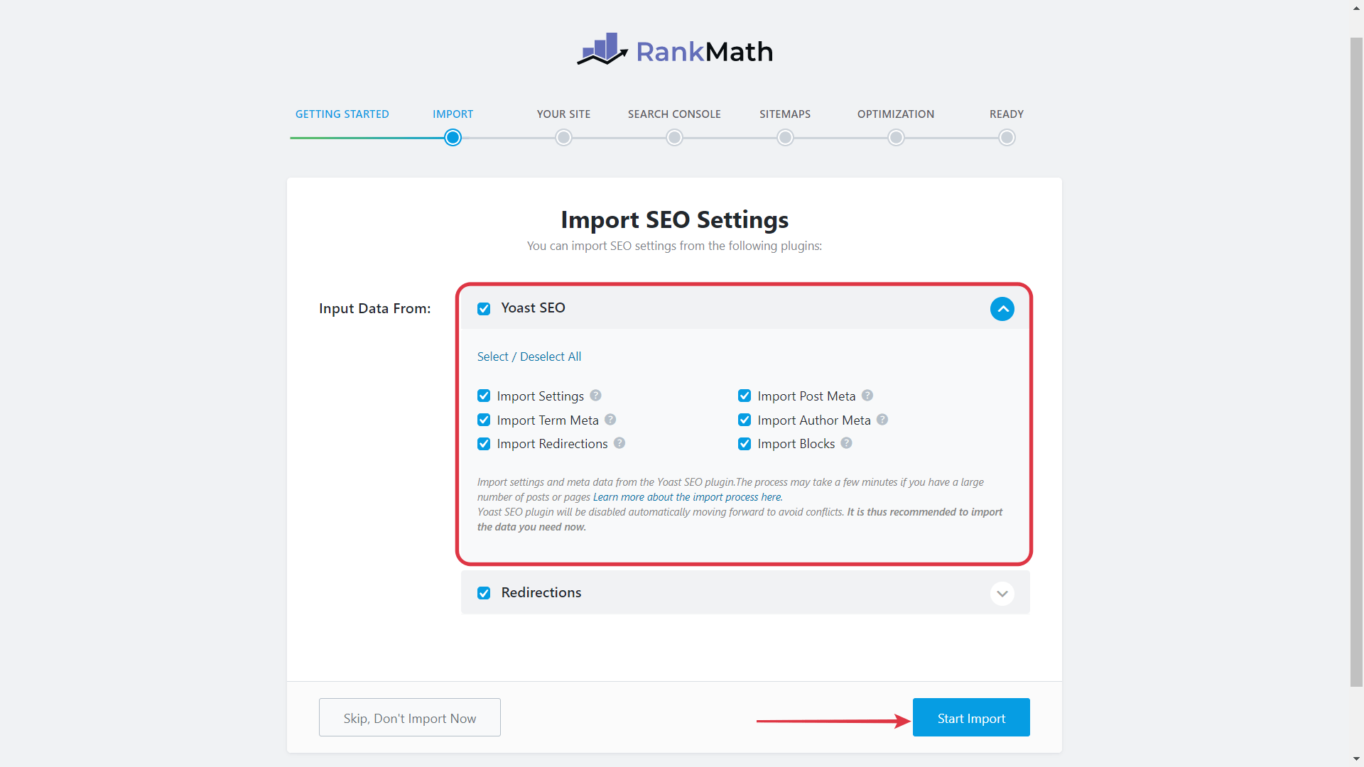 Click Start Import To Migrate all the data from Yoast To Rank Math