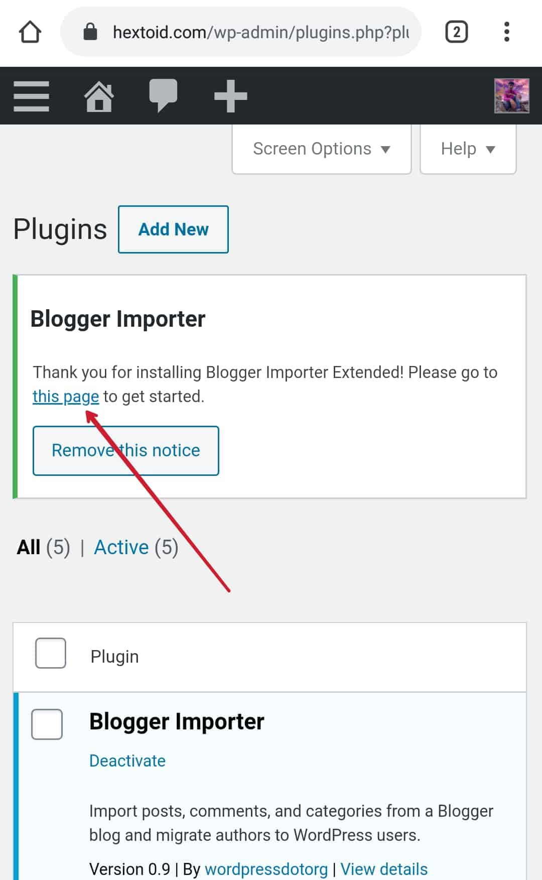 "Click on""This Page"" option to get started > Run Importer"