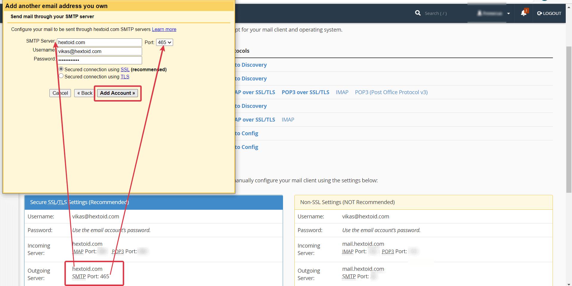 Enter SMTP Server > Username > Password > Port > Click Add Account