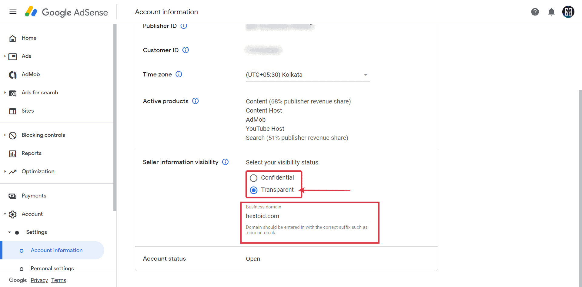 Enter domain name and choose transparent