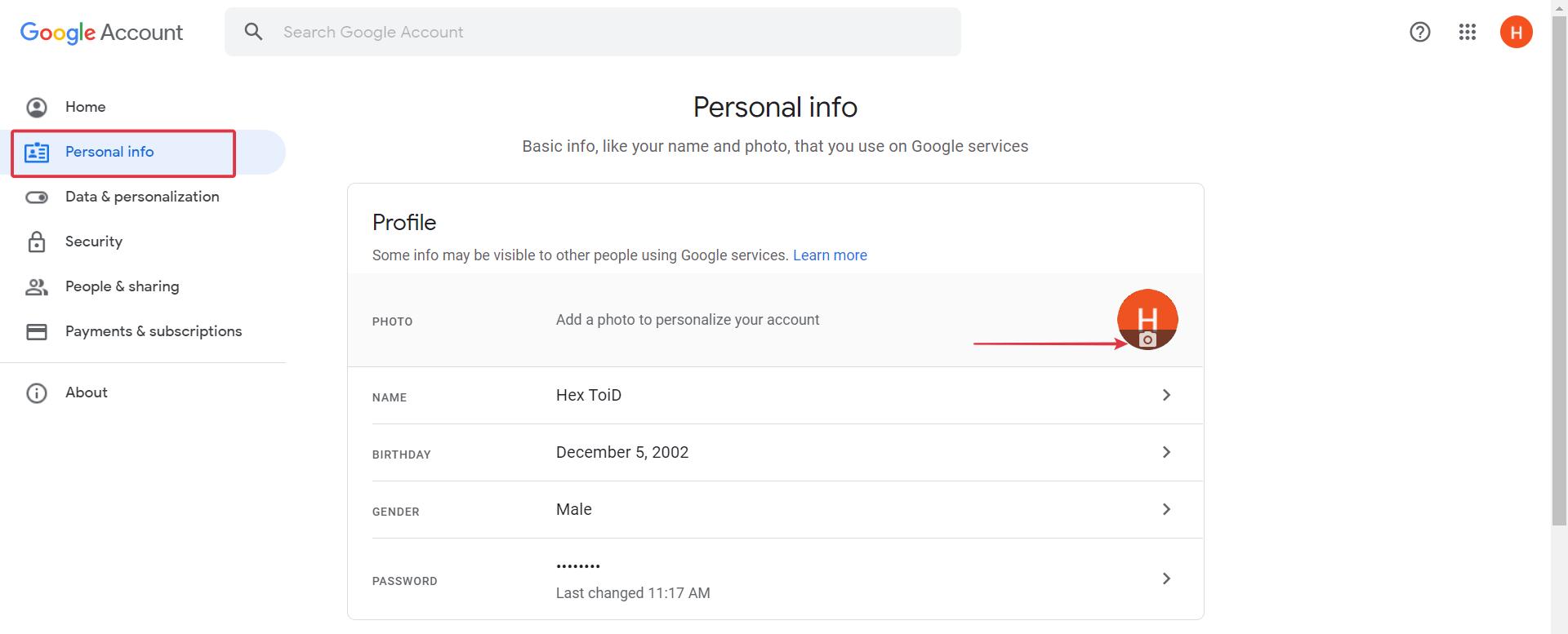 Go to Personal info tab > Click camera Icon