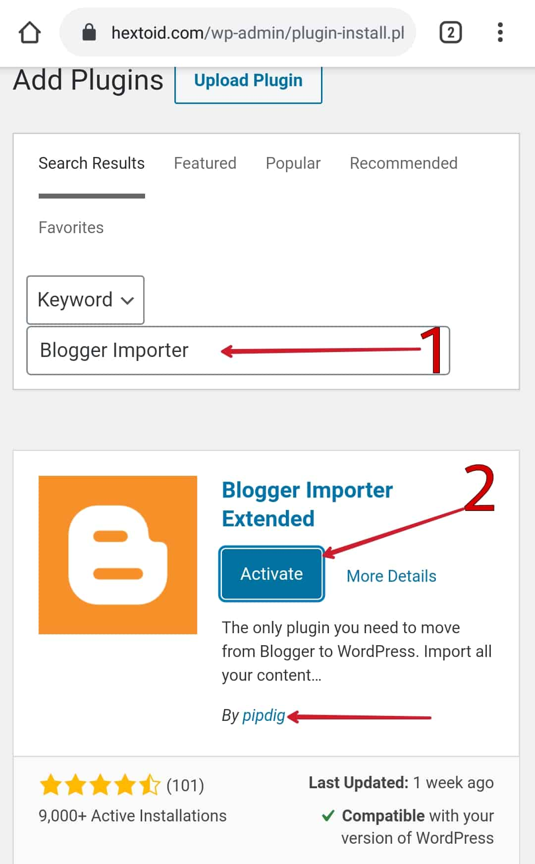 """Install & Activate """"Blogger Importer Extended"""" by Pipdig"""