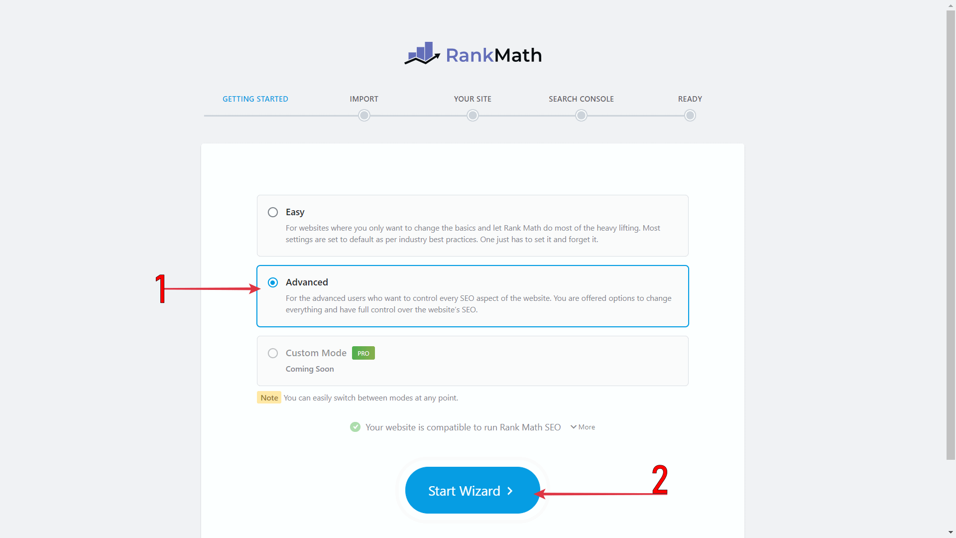 Select Advanced > Click Start Wizard  To Set Up Yoast To Rank Math Migration