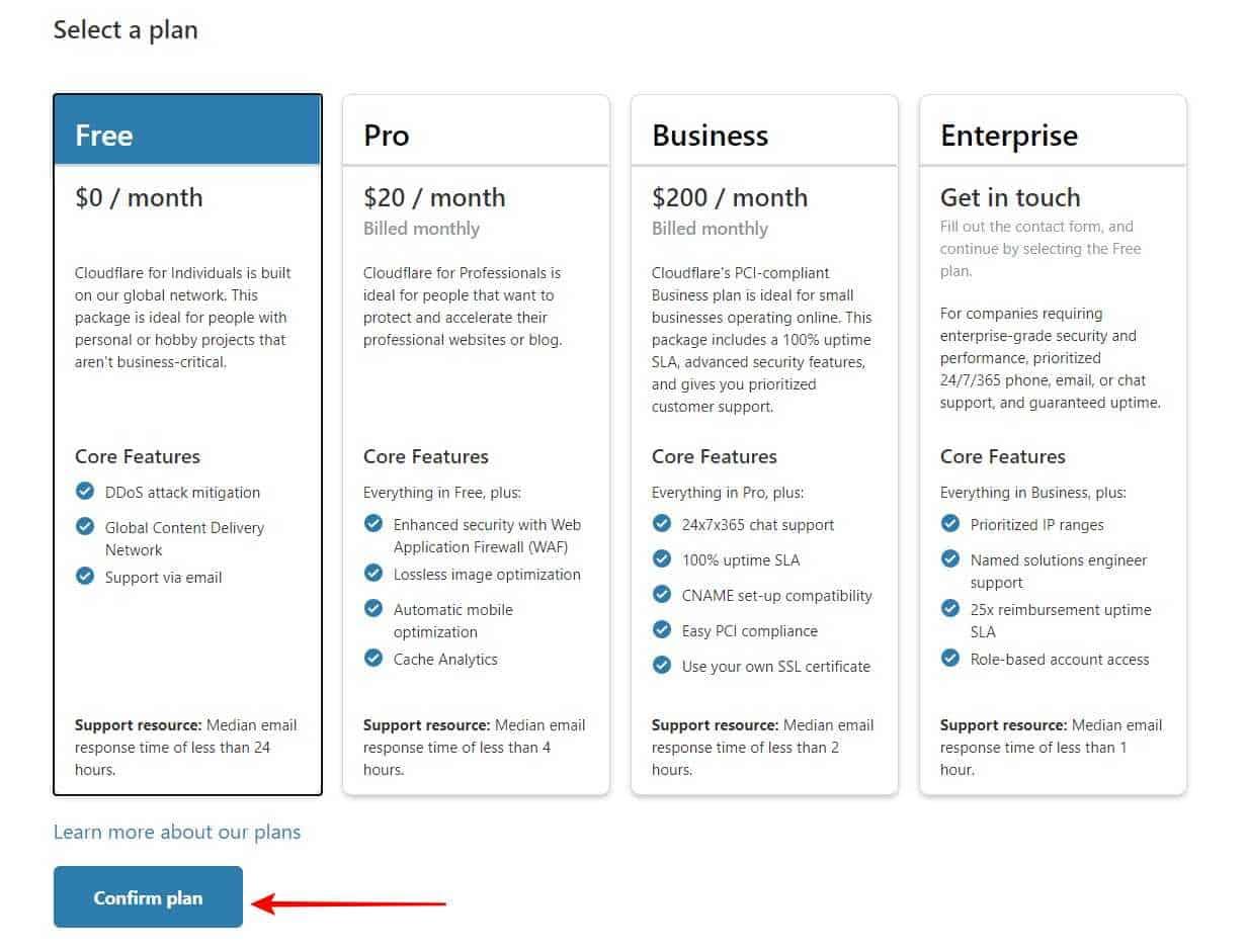 Choose Free Plan $0 / month > Click Confirm Plan