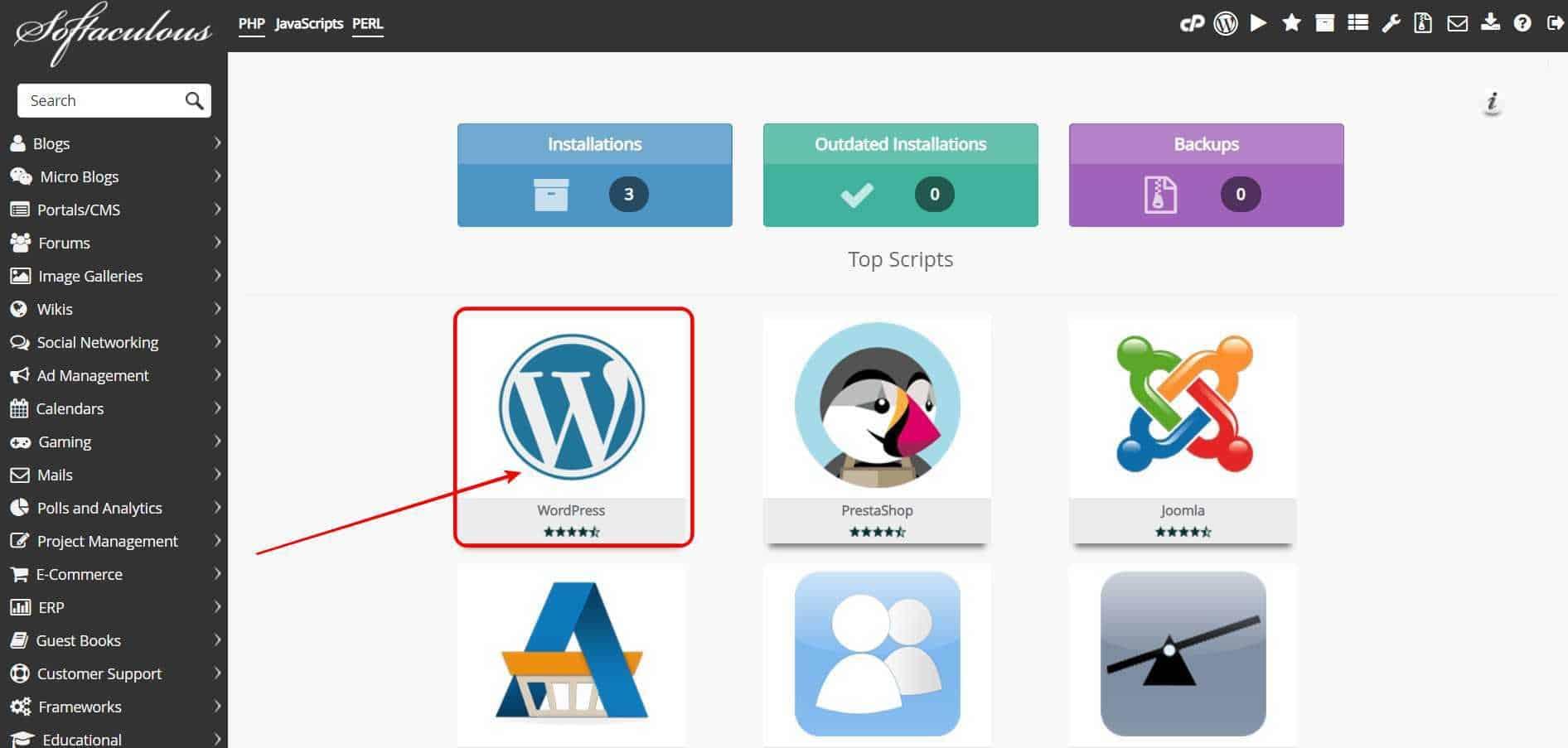 click on WordPress