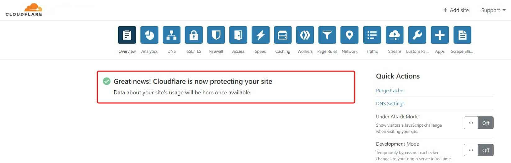 Great news! Cloudflare is now protecting your site