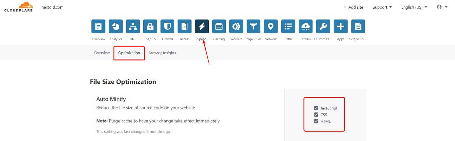 In Auto, Minify enable the JavaScript, CSS, HTML