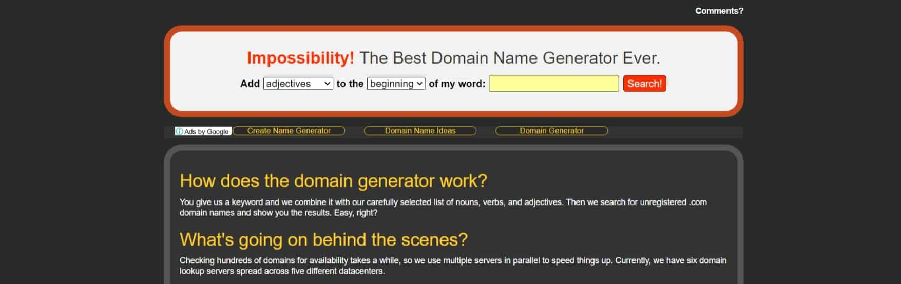 Impossibility!: The Best Domain Name Generator Ever