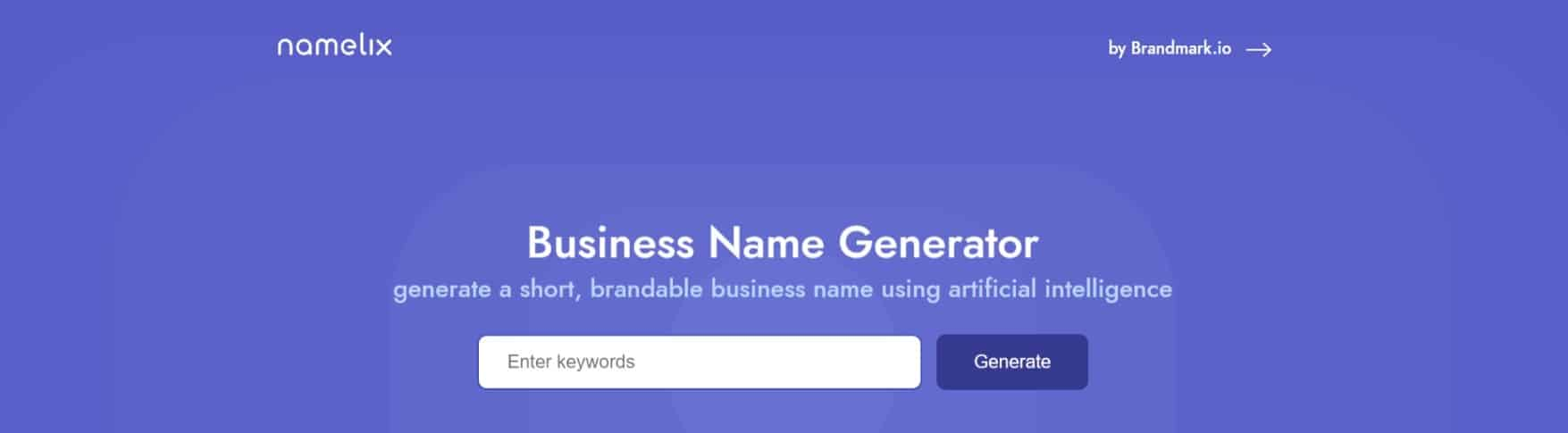 Namelix: Business Name Generator – free AI-powered naming tool
