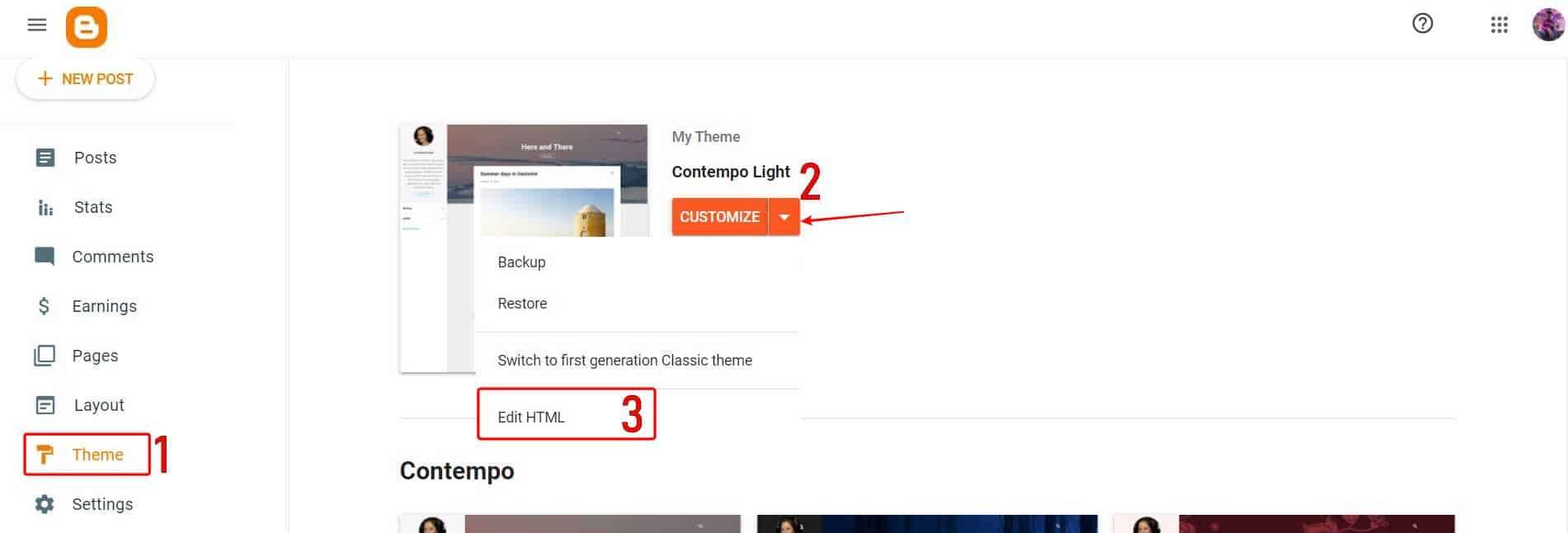 Theme > Edit HTML