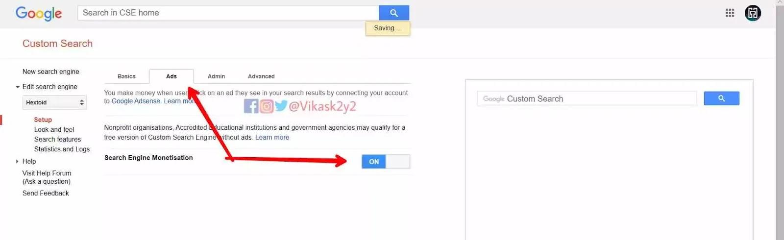 Turn On Search Engine Monetization