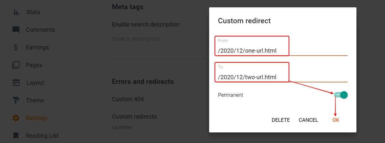 Enter all the urls you want to set redirection & set for permanent