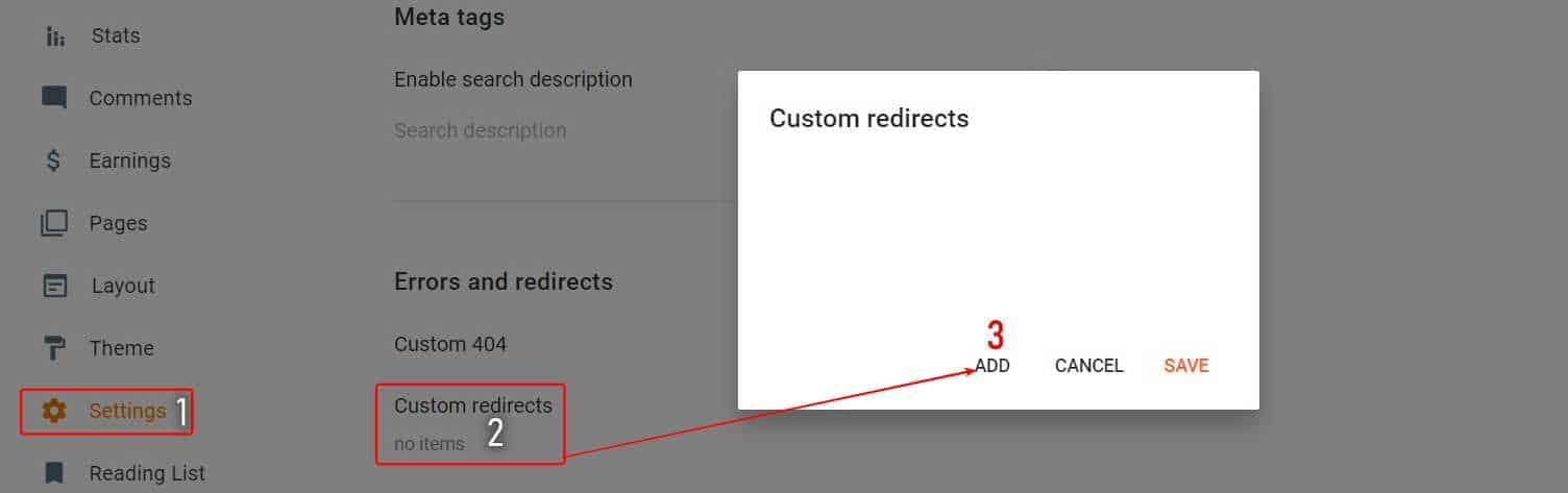 Settings > Custom-Redirects > Click Add