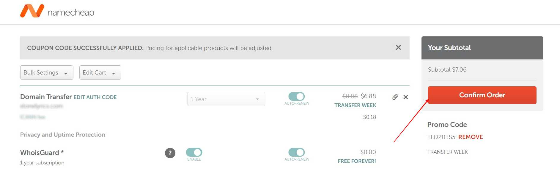 Recheck everything and click Confirm Order