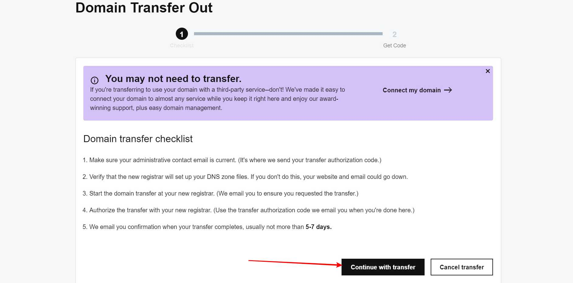 Continue with transfer