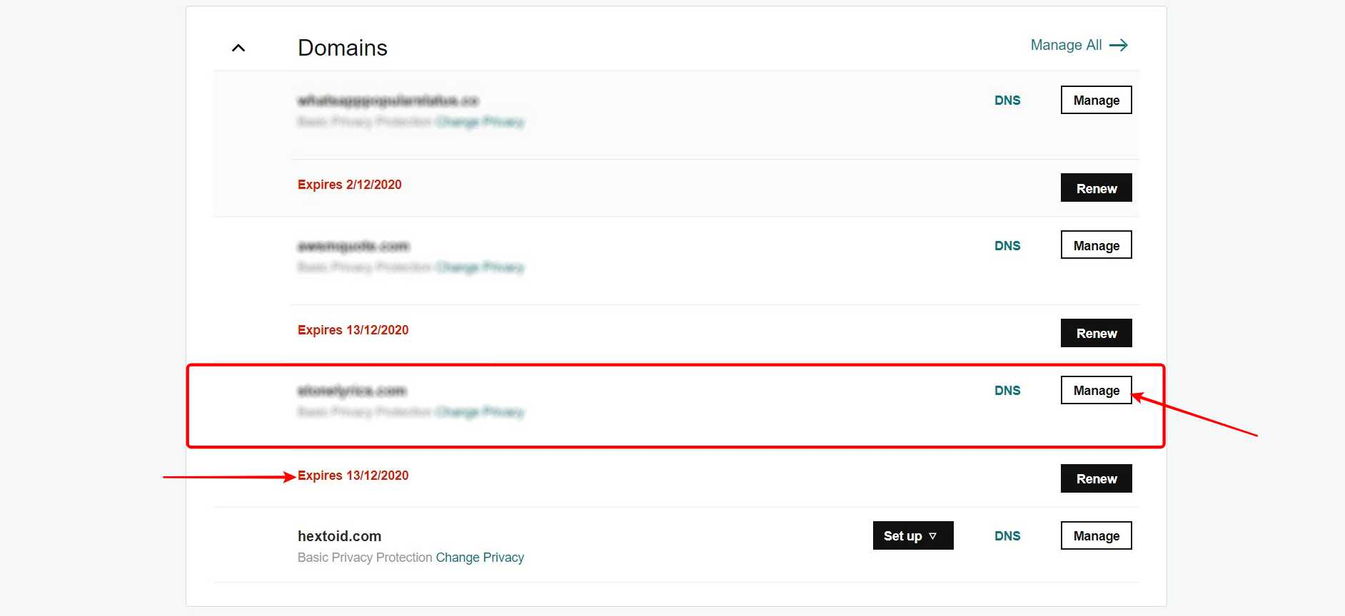 Login to GoDaddy account > My Products > Under Domain section, Tap on Manage near the domain you want to transfer