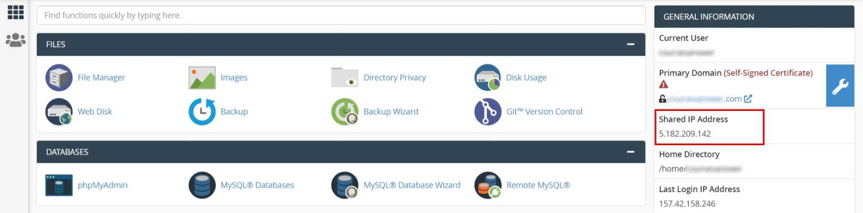 Log in to your new cPanel (On which you want to migrate) > Copy the Shared IP Address