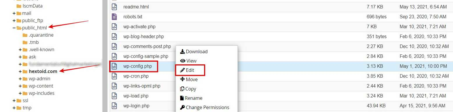 Navigate to the domain folder in file manager > Find wp-config.php file > Right-click & edit