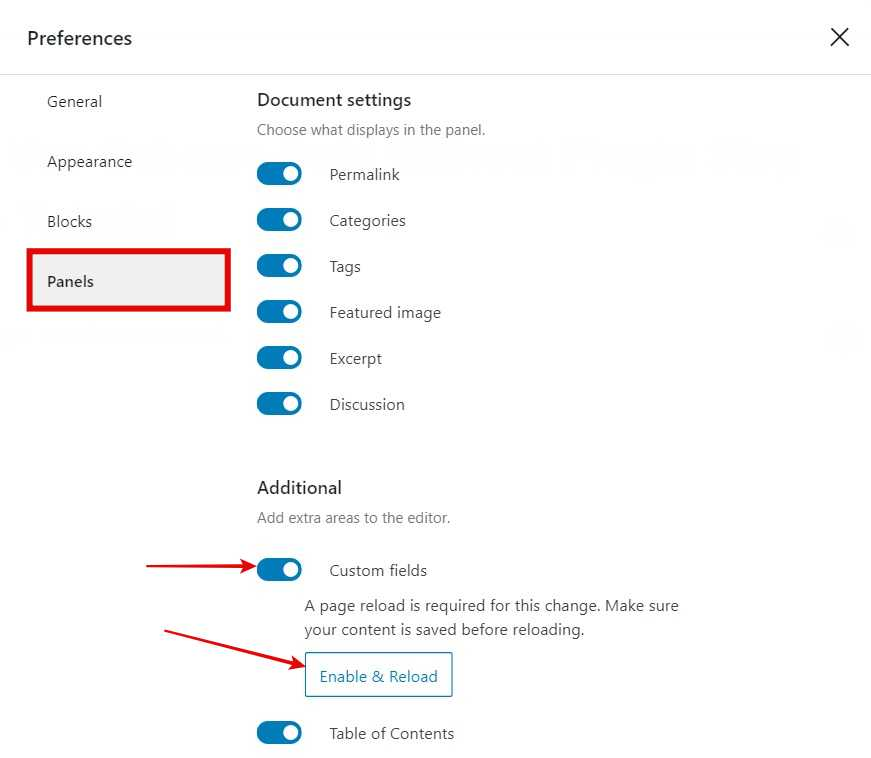 From the pop up click on Panels > In additional section Enable Custom fields > Click Enable & Reload