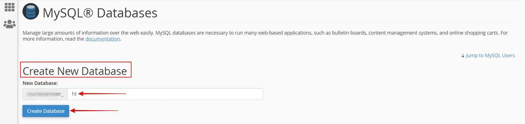 Enter a name  Create Database