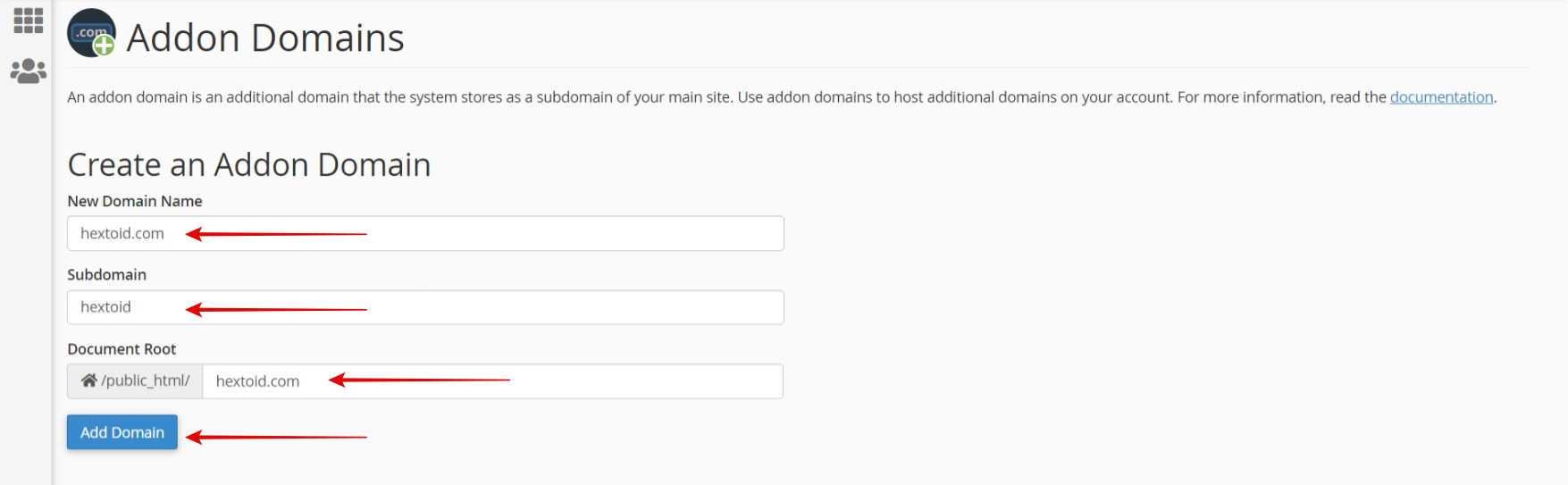 Enter domain name > Click Add Domain