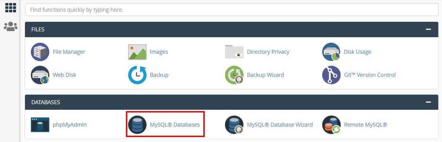 Go to cPanel  MySQL Databases