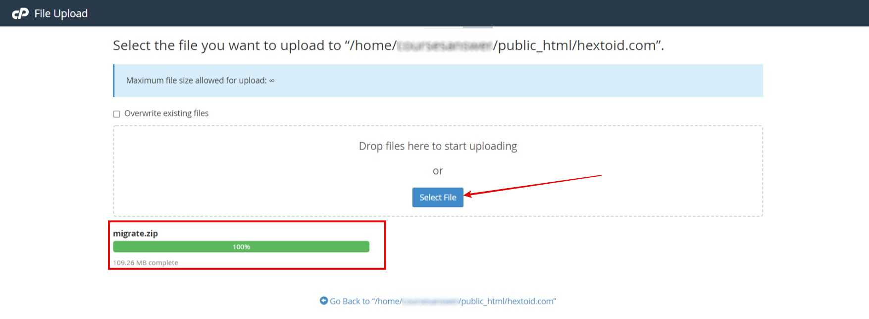 Upload the .zip file downloaded in Step 4