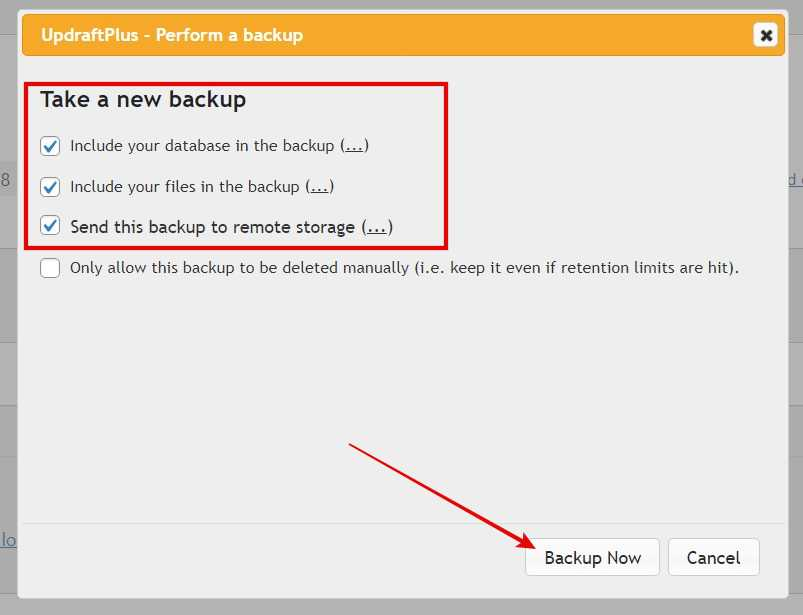 Tick these 3 options > Click Backup Now