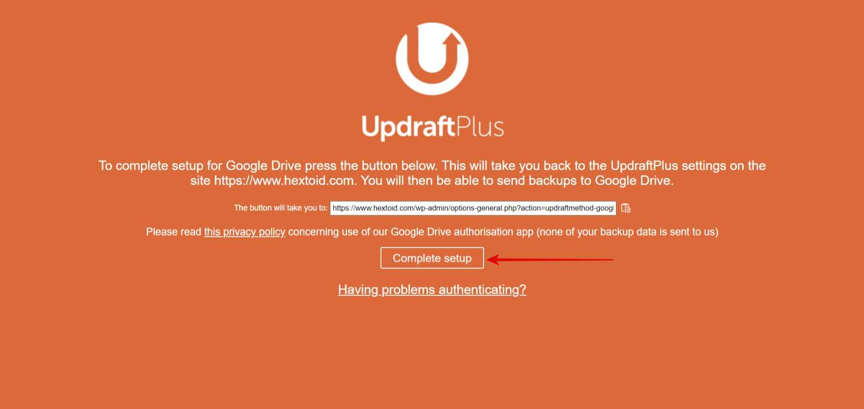 Authorize your Google account and click Complete setup